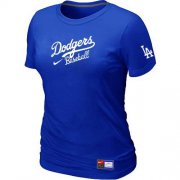 Wholesale Cheap Women's Los Angeles Dodgers Nike Short Sleeve Practice MLB T-Shirt Blue