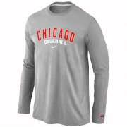 Wholesale Cheap Chicago Cubs Long Sleeve MLB T-Shirt Grey