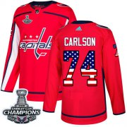 Wholesale Cheap Adidas Capitals #74 John Carlson Red Home Authentic USA Flag Stanley Cup Final Champions Stitched Youth NHL Jersey