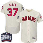 Wholesale Cheap Indians #37 Cody Allen Cream Flexbase Authentic Collection 2016 World Series Bound Stitched MLB Jersey
