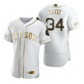 Wholesale Cheap Boston Red Sox #34 David Ortiz White Nike Men\'s Authentic Golden Edition MLB Jersey