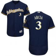 Wholesale Cheap Brewers #3 Orlando Arcia Navy Blue Flexbase Authentic Collection Stitched MLB Jersey