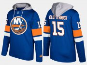 Wholesale Cheap Islanders #15 Cal Clutterbuck Blue Name And Number Hoodie