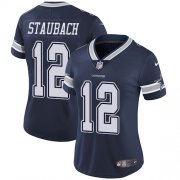 Wholesale Cheap Nike Cowboys #12 Roger Staubach Navy Blue Team Color Women's Stitched NFL Vapor Untouchable Limited Jersey