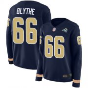 Wholesale Cheap Nike Rams #66 Austin Blythe Navy Blue Team Color Women's Stitched NFL Limited Therma Long Sleeve Jersey