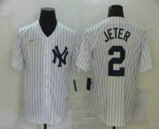 Wholesale Cheap Men's New York Yankees #2 Derek Jeter White Throwback Stitched MLB Cool Base Nike Jersey