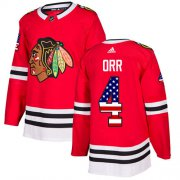 Wholesale Cheap Adidas Blackhawks #4 Bobby Orr Red Home Authentic USA Flag Stitched NHL Jersey