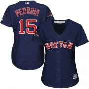 Wholesale Cheap Red Sox #15 Dustin Pedroia Navy Blue Alternate 2018 World Series Champions Women's Stitched MLB Jersey