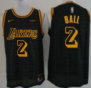 Wholesale Cheap Nike Lakers 2 Lonzo Ball Black NBA Swingman City Edition Jersey