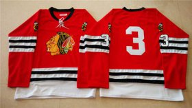 Wholesale Cheap Mitchell And Ness 1960-61 Blackhawks #3 Keith Magnuson Red Stitched NHL Jersey