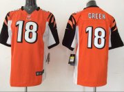Wholesale Nike Bengals #18 A.J. Green Orange Alternate Youth Stitched NFL Elite Jersey