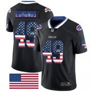 Wholesale Cheap Nike Bills #49 Tremaine Edmunds Black Men's Stitched NFL Limited Rush USA Flag Jersey