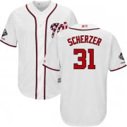 Wholesale Cheap Nationals #31 Max Scherzer White Cool Base 2019 World Series Champions Stitched Youth MLB Jersey