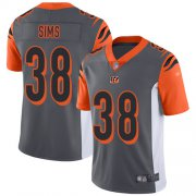 Wholesale Cheap Nike Bengals #38 LeShaun Sims Silver Men's Stitched NFL Limited Inverted Legend Jersey