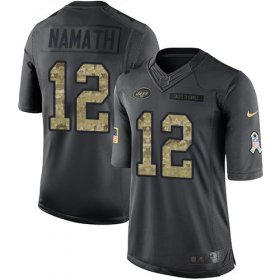 Wholesale Cheap Nike Jets #12 Joe Namath Black Youth Stitched NFL Limited 2016 Salute to Service Jersey