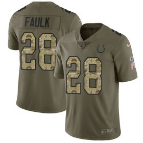 Wholesale Cheap Nike Colts #28 Marshall Faulk Olive/Camo Men\'s Stitched NFL Limited 2017 Salute To Service Jersey