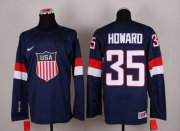Wholesale Cheap 2014 Olympic Team USA #35 Jimmy Howard Navy Blue Stitched NHL Jersey