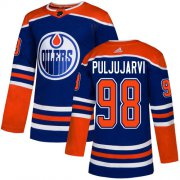 Wholesale Cheap Adidas Oilers #98 Jesse Puljujarvi Royal Blue Alternate Authentic Stitched NHL Jersey