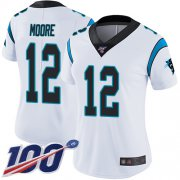 Wholesale Cheap Nike Panthers #12 DJ Moore White Women's Stitched NFL 100th Season Vapor Limited Jersey