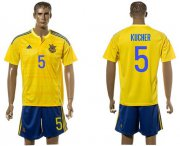 Wholesale Cheap Ukraine #5 Kucher Home Soccer Country Jersey