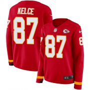 Wholesale Cheap Nike Chiefs #87 Travis Kelce Red Team Color Women's Stitched NFL Limited Therma Long Sleeve Jersey