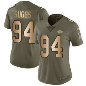 Wholesale Cheap Nike Chiefs #94 Terrell Suggs Olive/Gold Women\'s Stitched NFL Limited 2017 Salute To Service Jersey