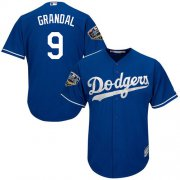 Wholesale Cheap Dodgers #9 Yasmani Grandal Blue Cool Base 2018 World Series Stitched Youth MLB Jersey