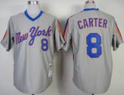 Wholesale Cheap Mitchell And Ness Mets #8 Gary Carter Grey Throwback Stitched MLB Jersey