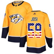 Wholesale Cheap Adidas Predators #59 Roman Josi Yellow Home Authentic USA Flag Stitched NHL Jersey