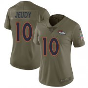 Wholesale Cheap Nike Broncos #10 Jerry Jeudy Olive Women's Stitched NFL Limited 2017 Salute To Service Jersey