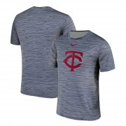 Wholesale Cheap Nike Minnesota Twins Gray Black Striped Logo Performance T-Shirt