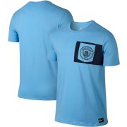Wholesale Cheap Manchester City Nike Team Crest T-Shirt Blue