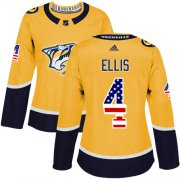 Wholesale Cheap Adidas Predators #4 Ryan Ellis Yellow Home Authentic USA Flag Women's Stitched NHL Jersey