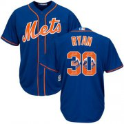 Wholesale Cheap Mets #30 Nolan Ryan Blue Team Logo Fashion Stitched MLB Jersey