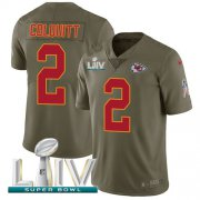 Wholesale Cheap Nike Chiefs #2 Dustin Colquitt Olive Super Bowl LIV 2020 Men's Stitched NFL Limited 2017 Salute To Service Jersey