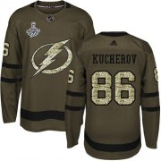 Cheap Adidas Lightning #86 Nikita Kucherov Green Salute to Service Youth 2020 Stanley Cup Champions Stitched NHL Jersey