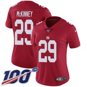 Wholesale Cheap Nike Giants #29 Xavier McKinney Red Alternate Women\'s Stitched NFL 100th Season Vapor Untouchable Limited Jersey