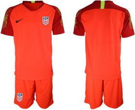 Wholesale Cheap USA Blank Red Goalkeeper Soccer Country Jersey