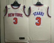 Wholesale Cheap Men's New York Knicks #3 John Starks New White 2017-2018 Nike Swingman Stitched NBA Jersey