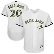 Wholesale Cheap Blue Jays #20 Josh Donaldson White Flexbase Authentic Collection Memorial Day Stitched MLB Jersey