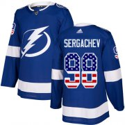 Wholesale Cheap Adidas Lightning #98 Mikhail Sergachev Blue Home Authentic USA Flag Stitched Youth NHL Jersey