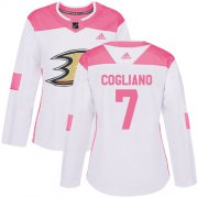 Wholesale Cheap Adidas Ducks #7 Andrew Cogliano White/Pink Authentic Fashion Women's Stitched NHL Jersey