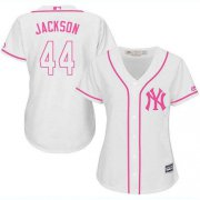 Wholesale Cheap Yankees #44 Reggie Jackson White/Pink Fashion Women's Stitched MLB Jersey