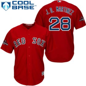 Wholesale Cheap Red Sox #28 J. D. Martinez Red Cool Base 2018 World Series Stitched Youth MLB Jersey