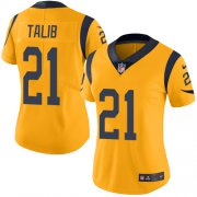 Wholesale Cheap Nike Rams #21 Aqib Talib Gold Women's Stitched NFL Limited Rush Jersey