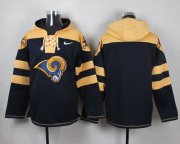 Wholesale Cheap Nike Rams Blank Navy Blue Player Pullover NFL Hoodie