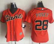 Wholesale Cheap Giants #28 Buster Posey Orange Women's Alternate Stitched MLB Jersey