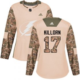 Wholesale Cheap Adidas Lightning #17 Alex Killorn Camo Authentic 2017 Veterans Day Women\'s Stitched NHL Jersey