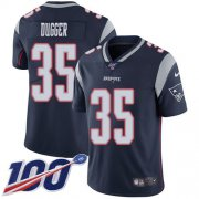 Wholesale Cheap Nike Patriots #35 Kyle Dugger Navy Blue Team Color Men's Stitched NFL 100th Season Vapor Untouchable Limited Jersey
