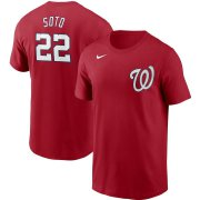 Wholesale Cheap Washington Nationals #22 Juan Soto Nike Name & Number T-Shirt Red